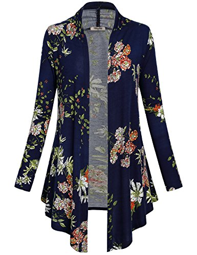 Patterned Knit Sweater (Hibelle Casual Cardigans For Women, Ladies Floral Wrap Kimono Top Boho Long Sleeve Shawl Neck Cover Up Sweaters Feminine Loose Comfy Knit Patterned Stretch Straight Knitwear Royalblue XXL)