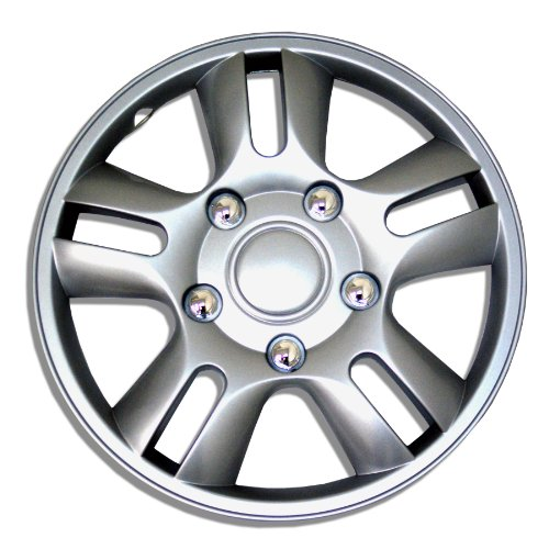 TuningPros WSC-006S15 Hubcaps Wheel Skin Cover 15-Inches Silver Set of 4 (Toyota Yaris 2009 Hubcap compare prices)