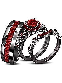round red garnet his her trio ring set - Black Gold Wedding Ring Sets