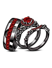 Round Red Garnet His & Her Trio Ring Set In Black Gold Plated Ladies Bridal & Men Wedding Band Ring