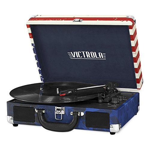 Victrola Vintage 3-Speed Bluetooth Suitcase Turntable with Speakers, American Flag