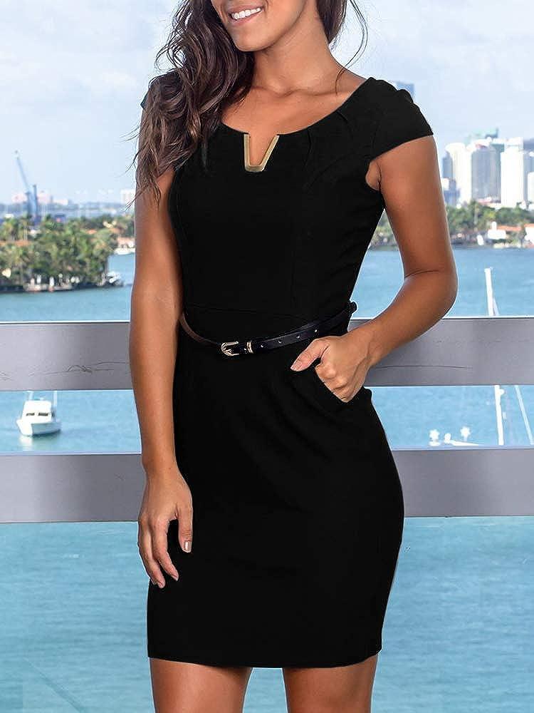 NiuBia Womens Sleeveless Bodycon V Neck Dresses Business Wear to Work Slim Office Sheath Pencil Midi Dress with Pockets