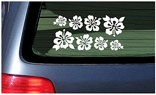 (8 Hibiscus Flowers Assorted Sizes - Make Your Own Flower Lei Sticker Decal Hawaii White)
