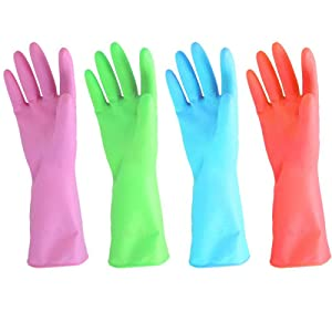 URBANSEASONS Dishwashing Rubber Gloves for Cleaning – 4 Pairs Household Gloves Including Blue, Pink, Green and Red, Non Latex and Fit Your Hands Well, Great Kitchen Tools