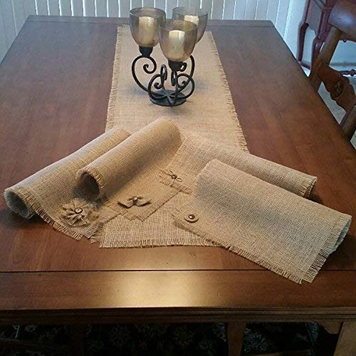 Burlap Shabby Chic Table Runners with a Handmade Button, Bow-tie, Bow or Flower Accent by SuzeeBells