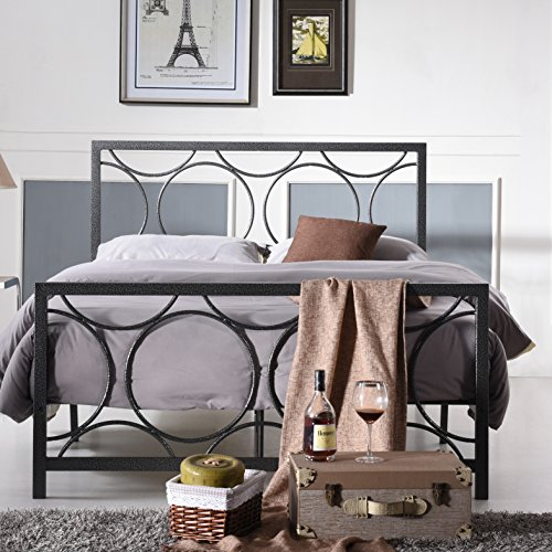 Alisha Contemporary Style Queen Size Panel Platform Bed Frame With Headboard Made W  Metal In Black Silver Finish 60 W X 80 D