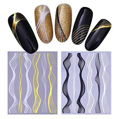 BORN PRETTY 2Sheets Nail Art 3D Sticker Gold Metal Wave Lines Multi-size Strip Manicure Adhesive Transfer (Gold Foil Lines)