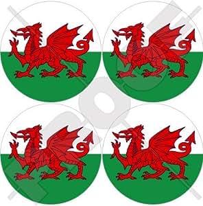 """Gales UK Galés 50mm (2"""") bumper-helmet de vinilo pegatinas, calcomanías x4"""