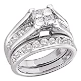 10k White Gold Princess Diamond Engagement Ring & Wedding Band Bridal Set Invisible Style Cluster 1/2 ctw Size 9