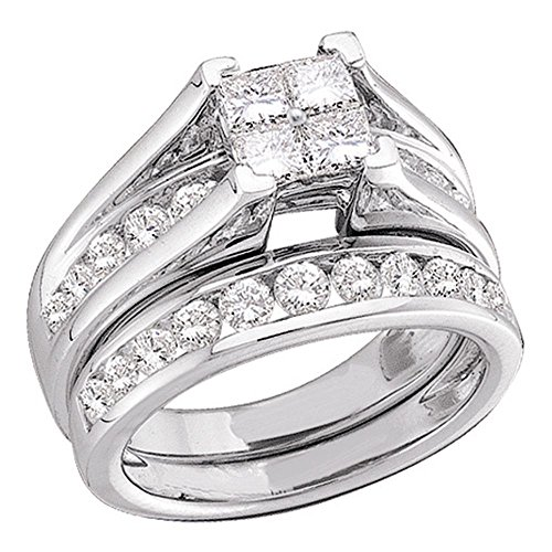 Size 5.5 - 10K White Gold Princess and Round Cut Diamond Bridal Engagement Ring and Matching Wedding Band Two 2 Ring Set - Bridge Setting Invisible Set Square Princess Shape Center Setting with Channel Set Side Stones - (1/2 cttw.) (Bridal Diamond Invisible Set)