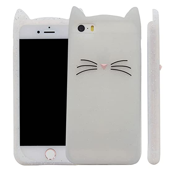 64cd3190206fa9 Image Unavailable. Image not available for. Color: iPhone SE Case, XINSIR  Cute 3D Black MEOW Party Cat Kitty Whiskers Protective Soft Silicone