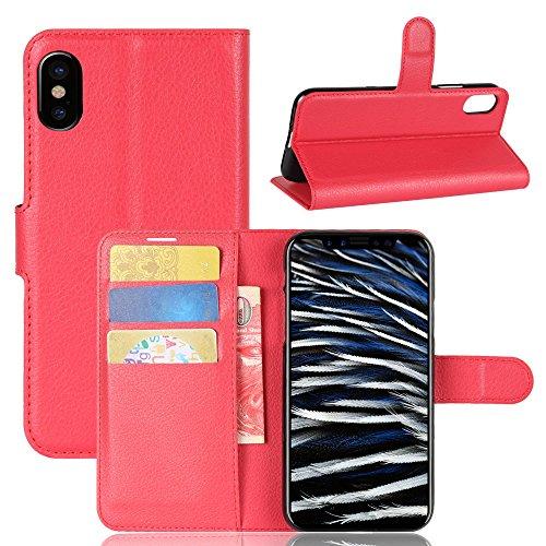 iPhone X Funda Faux Cuero Billetera Funda para iPhone X con Stand Función(Negro) Rojo