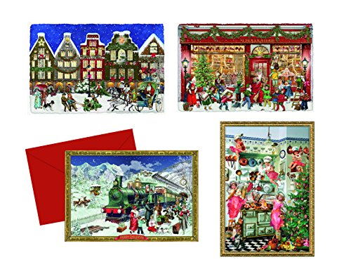 Coppenrath Unique Advent Christmas Calendar Cards Pack of 4 - Beautiful Fold Out - Premium Made in Germany - Around the Town Selection