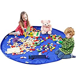Children's Play Mat and Toys Storage Bag - 60 inch Kids Playbag Toys Organizer Quick Pouch. Great for Storing Medium and Large Size Toy, Portable, Sturdy-Blue