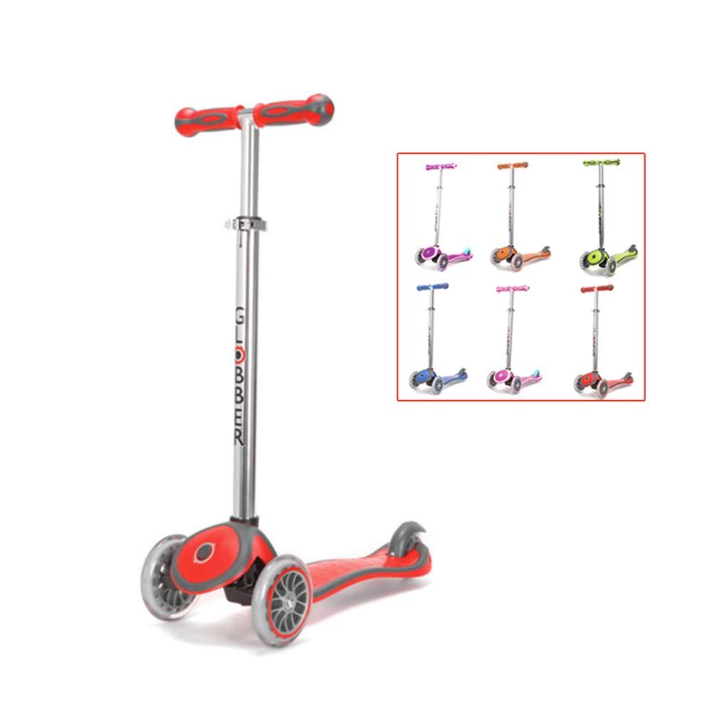 rot SSLHDDL Kinderscooter Dreirad mit verstellbarem Lenker Kinderroller Roller Scooter LED Blinken für Kinder ab 3 4 5 Jahren