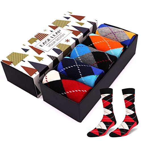 Mens Dress Socks Colorful Patterned Cotton Socks Funky Crew Socks for Women (US Shoe Size: Men 8-12/Women 9-13, 5 Pairs Color 7)