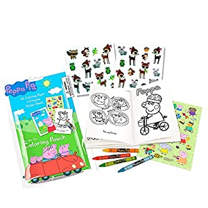 peppa pig coloring book set with peppa pig stickers and crayons includes bonus pack of zoo animal stickers - Peppa Pig Coloring Book