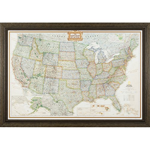 Craig Frames Wayfarer, Executive United States Push Pin Travel Map, Ornate Weathered Brown Frame and Pins, 24 by 36-Inch