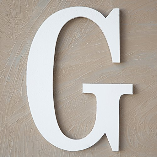 "The Lucky Clover Trading LBL14TW-G G Wood Block, 14"" L, White Wall Letter"