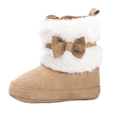 ESTAMICO Baby Girl Plush Winter Snow Bowknot Boots Khaki 6-12 Months ()