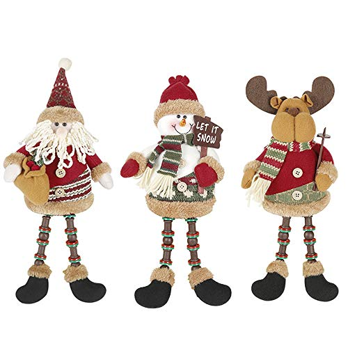 Tvoip 3Pcs Christmas Decor Dolls Santa Claus Snowman Reindeer Hanging Ornaments Table Decorations Gift (Snowman Ornaments Stuffed)