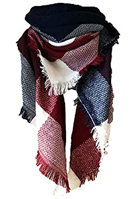 Wander Agio Womens Warm Long Shawl Wraps Large Scarves Knit Cashmere Feel Plaid Triangle Scarf