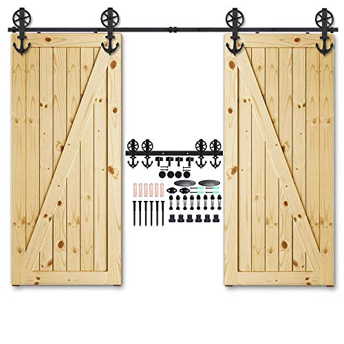CCJH 19FT Heavy Duty Sliding Barn Wood Door Hardware Track Kit - Smoothly and Stable - Easy Installation - 19 Foot Rail Double Door Kit (Big Wheel Anchor Shaped Hangers)