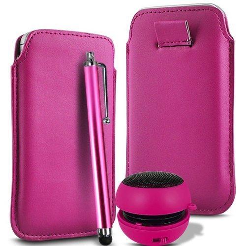 N4U Online - Apple Iphone 4S supérieure PU souple Pull en cuir flip Tab Housse couverture stylet et mini haut-parleur rechargeable - Rose Chaud