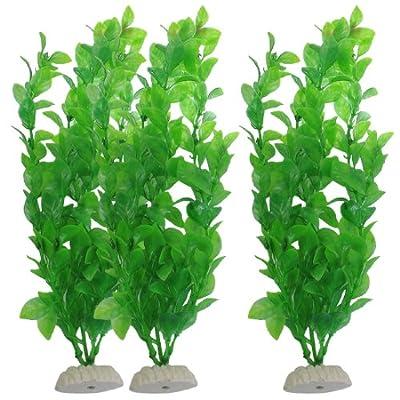 uxcell Aquarium Fish Tank Green Plastic Artificial Plants 10.6inch High 3Pcs from uxcell