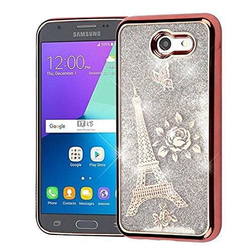 Price comparison product image Galaxy Amp Prime 2/Express Prime 2/J3 (2017)/J3 Emerge Case, Mybat Quicksand Eiffel Tower Hard Snap-in Case Cover For Samsung Galaxy Amp Prime 2/Express Prime 2/J3 (2017)/J3 Emerge, Rose Gold/Silver