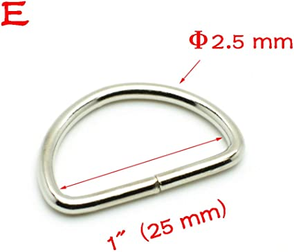 50pcs Metal Nickel Plated D Ring 1 INCH