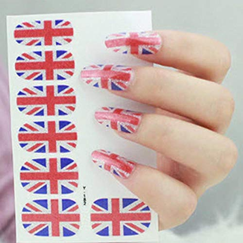 12 UK Great Britian British Nail Blue Red White Wrap Decals Sticker Salon Quality Nail Art - 1 -