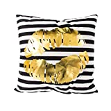 BEGOO Gold Flannelette Square Cozy Gold Throw Pillow Case Décor Cover Cushion Cover 18'' x 18'' for Sofa Bed Counch Decoration, Gold Lips Black Stripe