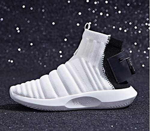 Casuales Zapatos Correr de Botas Botas Zapatos para blanco Zapatos Moda Señoras Zapatos para Deportivos elásticos de Correr Estilo Cortas Punto Calcetines de Lucdespo vqEpfwE