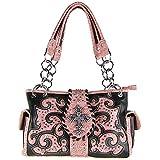 Western Tooled Distressed Faux Leather Rhinestone Studded Cross Shoulder Handbag Pink