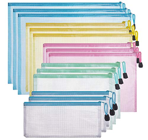 Zipper Plastic Mesh Pouch, Waterproof Mesh Bags for Travel Storage and File Bags for Office (5 Colors,15 Pack)