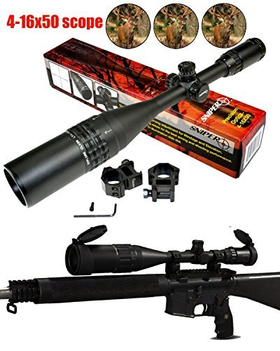Ledsniper®Brand new Sniper 4-16x50mm Scope W Front Ao Adjustment Red/green/blue/ Illumination Mil-dot Reticle+ Extended Sunshade and Heavy Duty Ring Mount(12 month warranty)