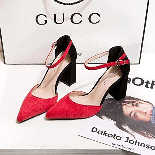 34 Zapatos Los Femeninos Del Alto Luz La Punta Tacn Rojo De Con Shoes heel Singles Irregular Satn Zapatos Alto 4UWnU1Fdwq
