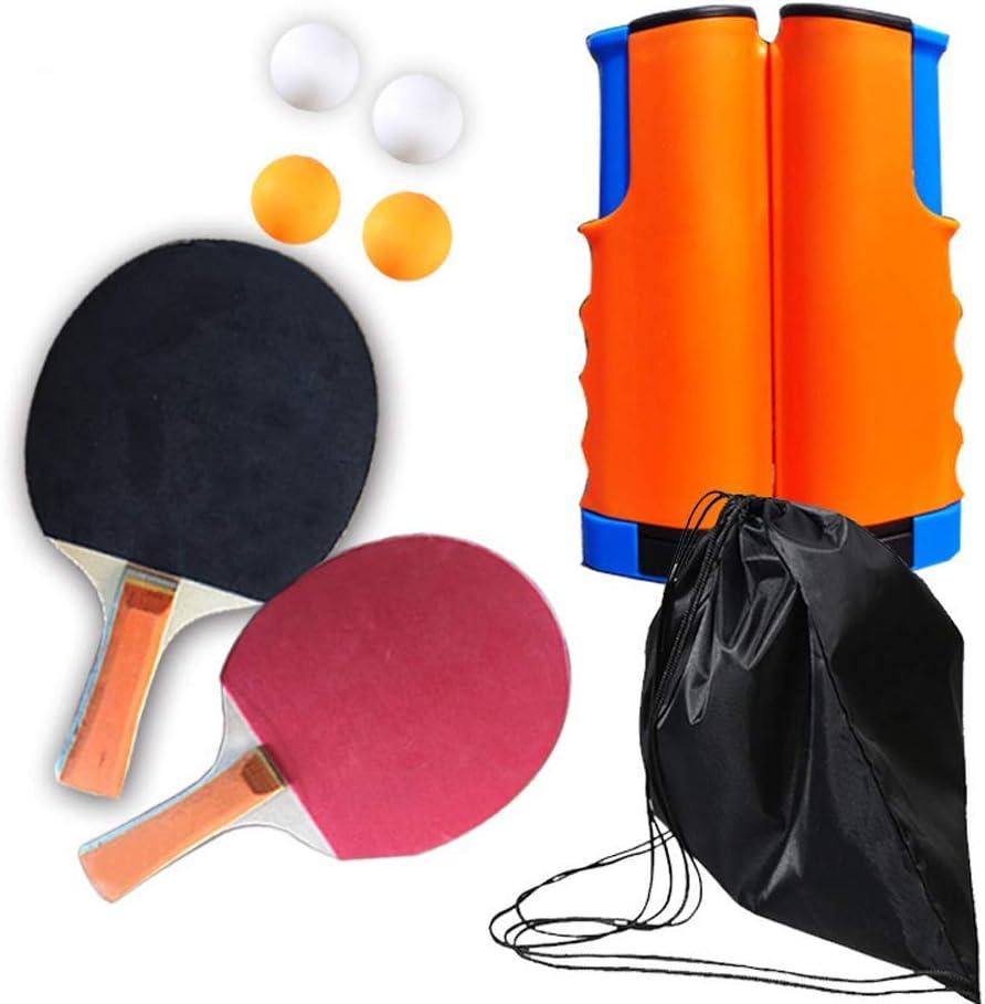 LOAER Juego de Ping-Pong, Juego de Palas de Tenis de Mesa portátil, 2 Raquetas Pro Premium, 4 Pelotas, 1 Red de Tenis de Mesa para Jugar en Interiores o al Aire Libre