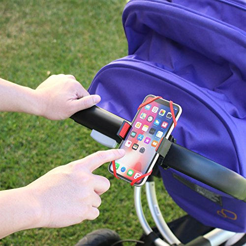 Insten Baby Stroller Phone Holder Mount, Compatible with Buggy Pram Shopping Carts Bike Bicycle Mount Secure Grip iPhone X/XS/XS Max/XR/8 Plus/7 Plus/6S/Galaxy S10/S10 Plus/S10e/S9/S9+/S8/S7, Red