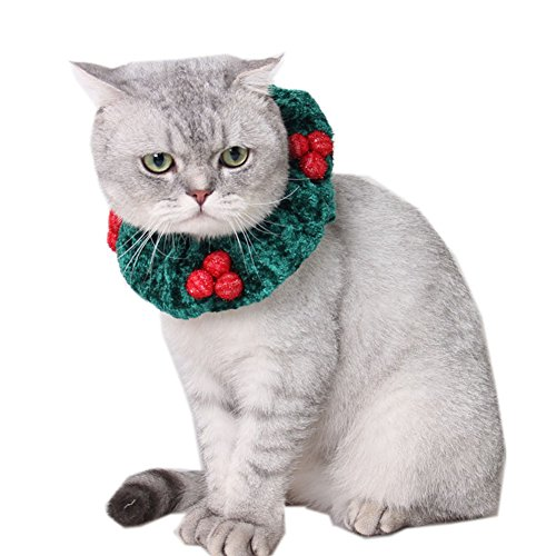 Mummumi Christmas Cherry Scarf,Christmas Ornaments Polyester Soft Loop Scarf Pet Supplies For Cat Small and Medium Dog Papillon Pomeranian Chihuahua Tidy Poodle, Small, Green