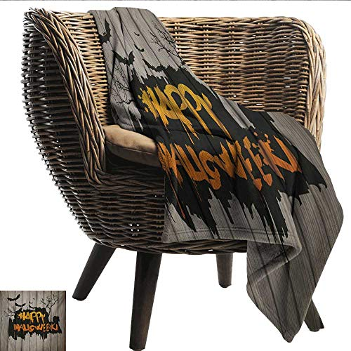 (Anshesix Digital Printing Blanket Halloween Happy Graffiti Style Lettering on Rustic Wooden Fence Scary Evil Holiday Artwork Plush Throw Blanket W60 xL51 Sofa,Picnic,Camping,Beach,Everyday)