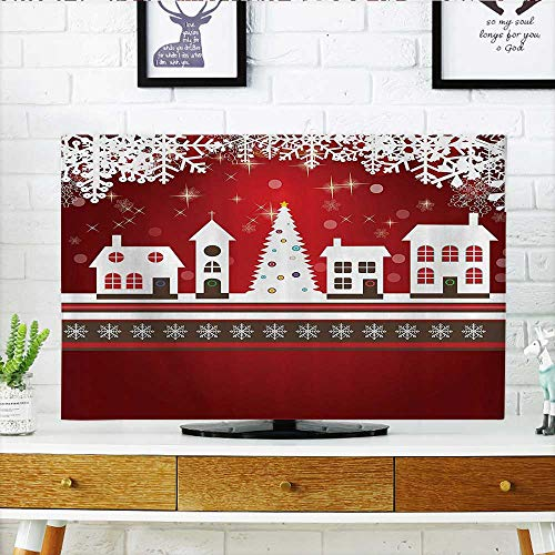 Front Flip Top Winter Holis Themed Gingerbread Houses Xmas Tree Lights and Snowflakes Front Flip Top W30 x H50 INCH/TV 52'' by L-QN