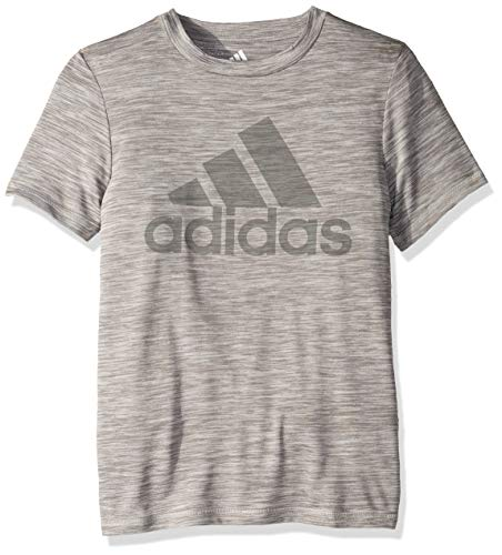 adidas Boys' Big Stay Dry Climalite Short Sleeve T-Shirt, Medium Grey Heather, M (10/12) Adidas Climalite Short Sleeve Tee