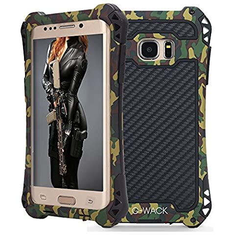 G-WACK Premium Carbon Fiber Aluminum Protective Metal Case Cover Extreme Shockproof Military Bumper Shell Case For Samsung Galaxy S7 Edge (Camouflage - Camo Cell Phone Cover