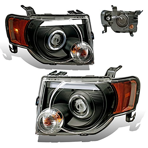 SPPC Black Projector Headlights Assembly Set for Ford Escape (Pair) High/Low Beam Bulb Included Driver Left and Passenger Right Side Replacement Headlamp