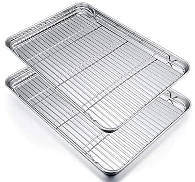 P&P CHEF Extra Large Baking Sheet and Cooking Rack Set, Stainless Steel Cookie Half Sheet Pan with grill rack, Rectangle 19.6''x13.5''x1.2'', Oven & Dishwasher Safe, 4 Piece (2 Pans+2 Racks)