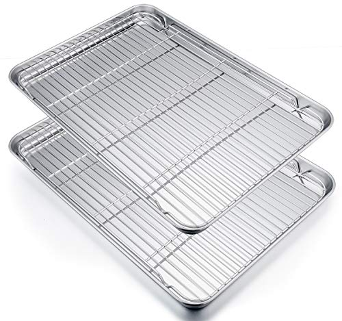 Stainless Steel Baking Sheet - P&P CHEF Extra Large Baking Sheet and Cooking Rack Set, Stainless Steel Cookie Half Sheet Pan with grill rack, Rectangle 19.6''x13.5''x1.2'', Oven & Dishwasher Safe, 4 Piece (2 Pans+2 Racks)