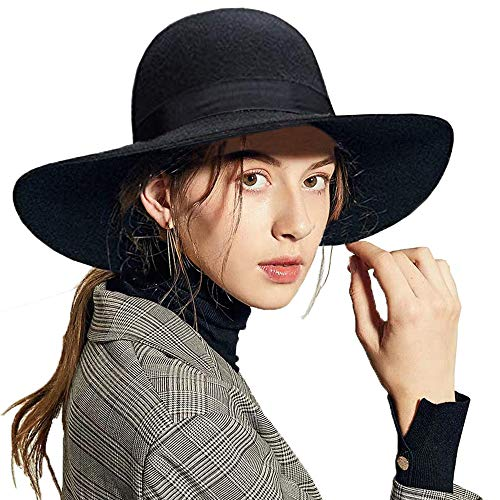 ASSQI Women's Wool Felt Floppy Hat Fedora Wide Brim Cloche Vintage Bowler Hat Foldable Black