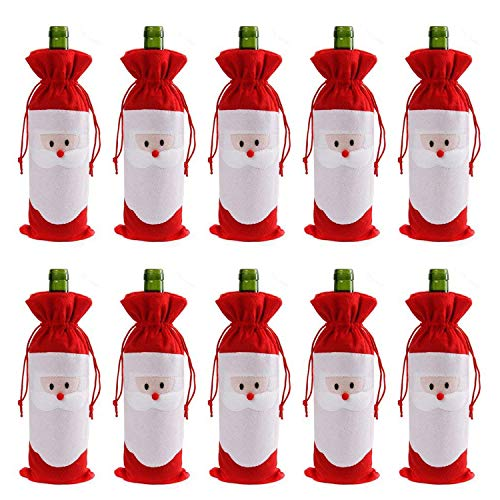 Santa Claus Wine Bottle - Gizhome 10 Piece Santa Claus Christmas Drawstring Red Wine Bottle Cover Bags for Home Dinner Party Decoration Table Decor X-Mas Gift